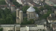 AERIAL St Kunibert church in Cologne, North Rhine-Westphalia, Germany