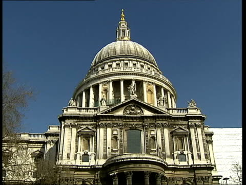 St Paul's Cathedral renovation first stage complete ITN London EXT Following seq has classical music overlaid GV St Paul's Cathedral TILT UP FADE TO...