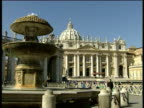 St Peter's Basilica and Square including fountain and the Vatican Obelisk