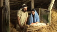 Stabile Natvitiy Szene an Weihnachten, Mary, Jospeh, Baby Jesus