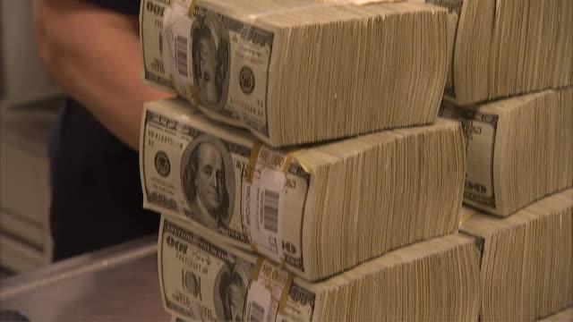 CU TU TD Stack of 100 dollar bills on table / Kansas City, Kansas, United States