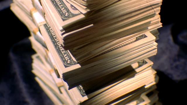 Stack of hundred dollar bundles