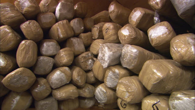MS Stack of narcotics in evidence room / Nogales, Sonora, Mexico