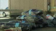 CU ZI Stack of wrapped heroin in plastic at warehouse / Tucson, Arizona, USA