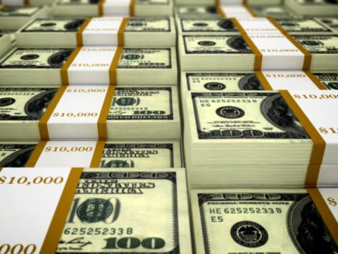 Stacks of 100 dollar bills - loopable, NTSC