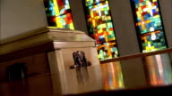Stained glasses and coffin