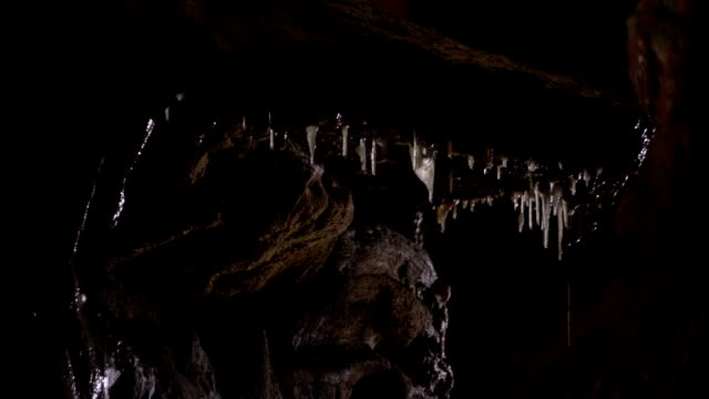 Stalactites drip in a cave in France. Available in HD