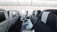 Standard class passenger seating is seen inside a Boeing Co 7878 Dreamliner aircraft operated by Thomson Airways at Manchester Airport in Manchester...