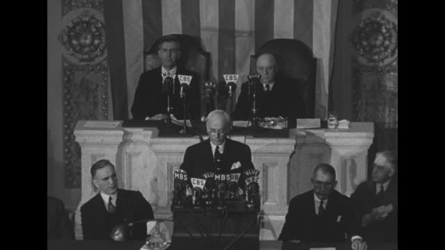 Standing on rostrum US Secretary of State Cordell Hull speaks to Congress about the Third Moscow Conference from which he has just returned Vice...