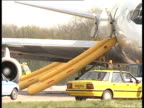 Aircraft fire ENGLAND Stansted Airport MS Pegasus Airways DC8 on tarmac with escape chutes out MS Escape chutes from starboard doors to tarmac MS...