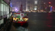 Star Ferry at pier in Victoria Harbour