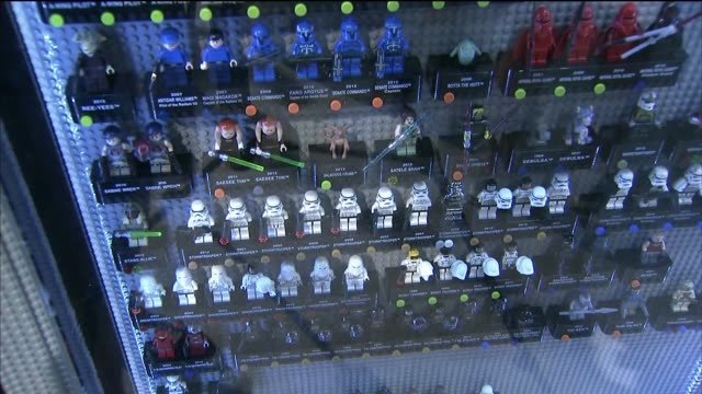 Star Wars Legos on display at Comic Con International in San Diego California US on July 9 2015 Shots Wide shots and close ups of Star Wars legos on...