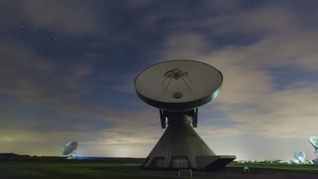 T/L Starry night sky at the satellite station in Raisting