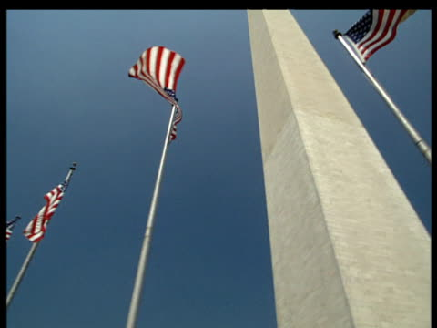 Stars And Stripes on poles pan right to Washington Monument with a flagpole on either side