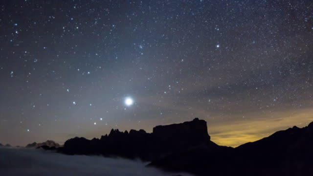 Stars at night in the opposite side during a Moon Eclipse in Dolomites