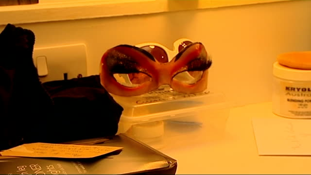 Stars of musical 'Priscilla Queen of the Desert' interviewed INT Character's headpieces glasses memorabilia on wall costumes and platform boots in...