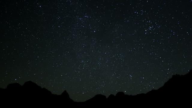 stars, sky at night over landscape until sun rises over mountain range