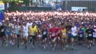 Start of running race in Wall Street Area Manhattan