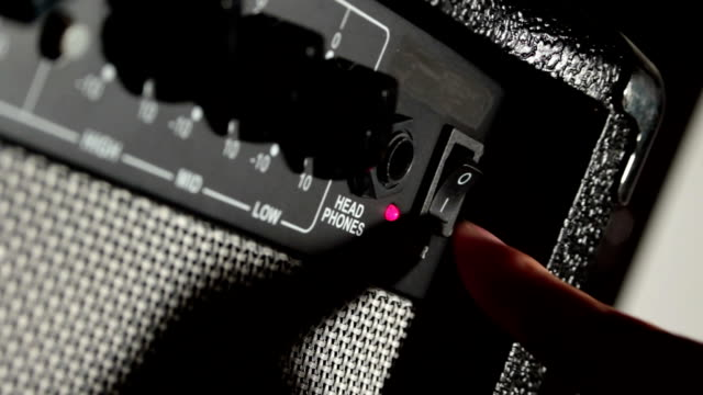 start your music session. turn on the amplifier