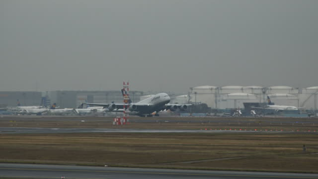 Starting Lufthansa Airbus A380 airplane at Frankfurt Airport, Frankfurt am Mein, Hesse, Germany