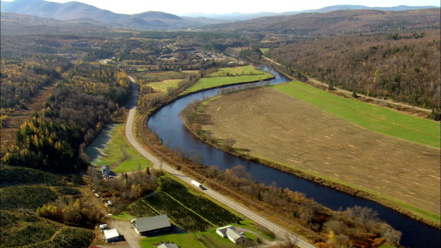 state border along Connecticut river - Aerial View - New Hampshire,  Coös County,  United States