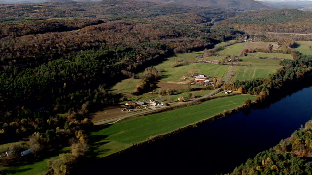 State Border Along Connecticut River  - Aerial View - New Hampshire,  Sullivan County,  United States