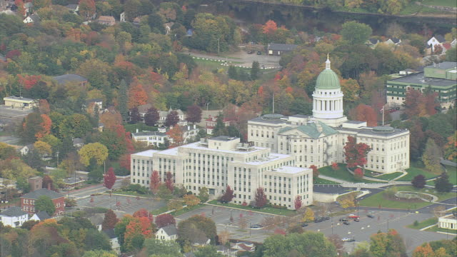 AERIAL State Capitol Buildings / Augusta, Maine, United States
