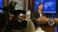 US State Department Spokesman Victoria Nuland reacts to the news out of Ramallah that Palestinian President Mahmoud Abbas will make an official bid...