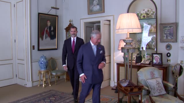 Clarence House for Afternoon Tea ENGLAND London Clarence House Reception room in Clarence House / Prince Charles into room followed by King Felipe VI...