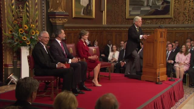 King Felipe VI address to parliament ENGLAND London Westminster Westminster Hall INT Theresa May MP sitting next to Jeremy Corbyn MP / King Felipe VI...