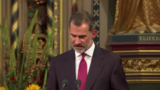 King Felipe VI address to parliament King Felipe VI speech continued SOT / Lord Fowler speech SOT / King Felipe VI and Queen Letizia leave hall
