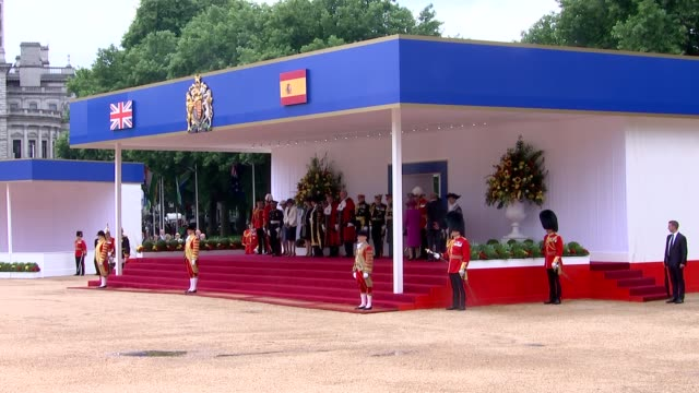 Welcome from the Queen at Horseguards Parade ENGLAND London Horseguards Parade National anthem plays / car carrying Queen Elizabeth II and Prince...