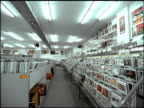 static LS aisle of empty record store lined with CDs on shelves and on cart