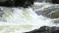 Static, close-up shot of white water and rocky banks of the River Spean, Argyllshire, Scotland.