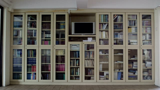 Static shot of a large book case