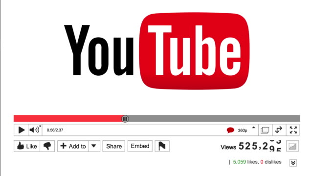 Static shot of an animated Youtube view counter increasing showing high numbers of video views on a successful viral marketing or advertising video