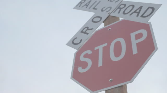 Static shot of Railroad Crossing stop sign