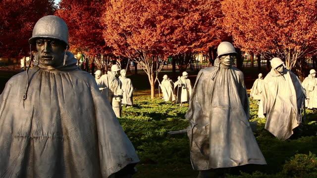 Static shot of statues at the Korean War Veterans Memorial in Washington DC