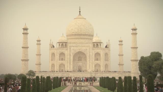 Static shot of the Taj Mahal on a muggy day, India.