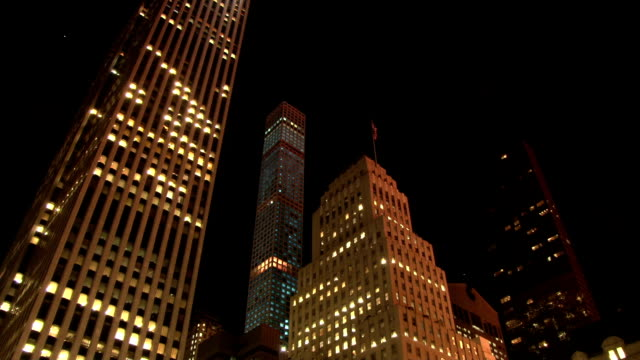 Static shot of the tallest residential tower in the western hemisphere lit up at night