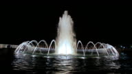 Static shot of the World War II Memorial fountain in Washington DC at night