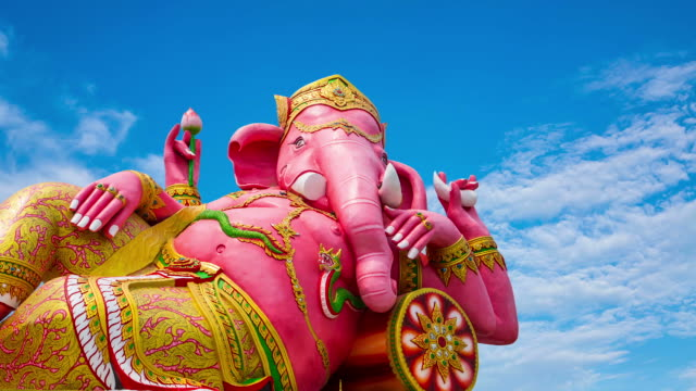 statue Ganesha wat saman big beautiful pink Chachoengsao, Thailand.