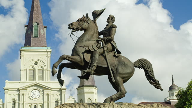 WS T/L Statue of Andrew Jackson with clouds in background / New Orleans, Louisiana, USA