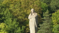WS AERIAL POV ZO Statue of Black Hawk around trees with river / Lowden State Park, Ogle County, Illinois, United States