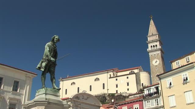 LA WS Statue of composer Giuseppe Tartini in Tartinijev Trg Square near Church of Sv. Jurij / Piran, Slovenia