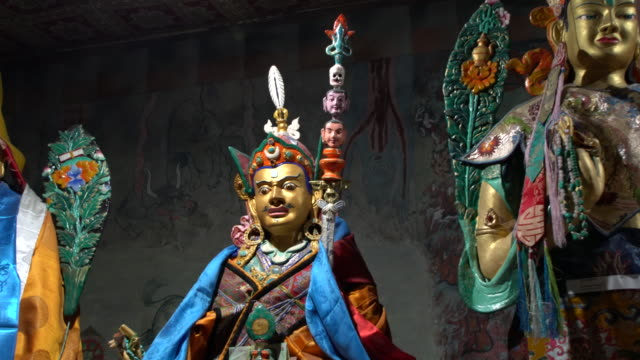 Statues inside Assembly Hall at Thiksay Monastery, Ladakh, India