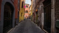 Steadicam: Old street in Trastevere, Rome in Italy