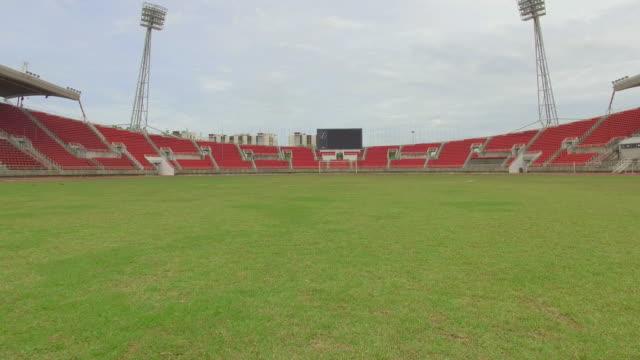 Steady cam shot of soccer fields
