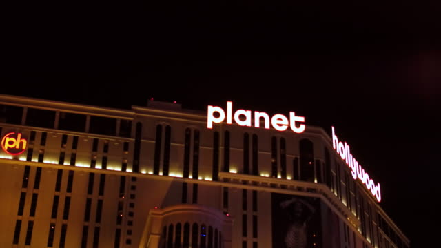Steady camera shot driving up the sunset strip Las Vegas Nevada