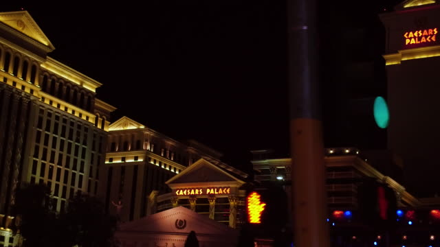 Steady camera shot driving up the sunset strip Las Vegas Nevada